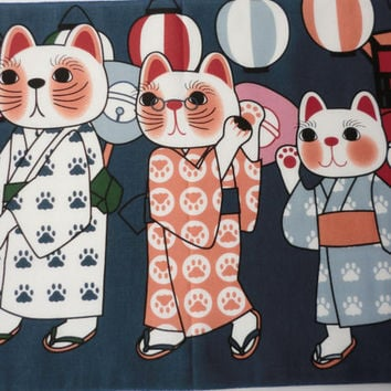 Japanese cat fabric, Tenugui Maneki-neko Fortune Cats dancing bon odori matsuri, japanese kawaii fabric