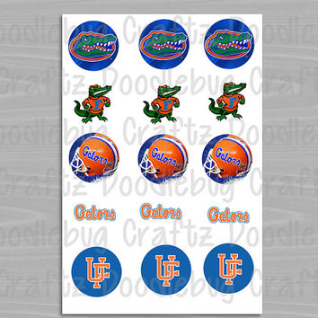 "University of Florida Gators - Printable Bottlecap Images - Instant Download 1"" circles - 15 images - UF"