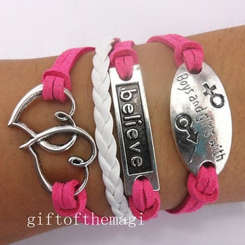 believe,double heart, &boys and girls with Charm Bracelet Antique silver-- cotton ropes braid Leather bracelet--friendship gift 674