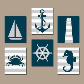 NAUTICAL Wall Art, Baby Boy Nautical Nursery Decor, NAUTICAL Bathroom Decor, Sailboat Anchor Lighthouse Nautical CANVAS or Print Set of 6
