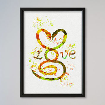 Snakes Love FRAMED Watercolor Print Valentine's Day Gift Poster Gift Illustration Art Watercolor Snakes In Love Black Humor Dark Comedy