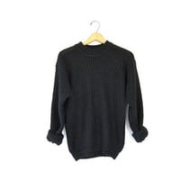 Slouchy 80s Simple Black Sweater Normcore Loose Knit Chunky Boyfriend Pullover 1980s Basic Fall Jumper Grunge Women Small Medium Large