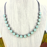 Swarovski crystal necklace, 8mm opals, mint green, designer inspired