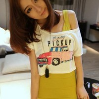 Lovely Car Pattern Two-Piece Leisurely T-Shirt White