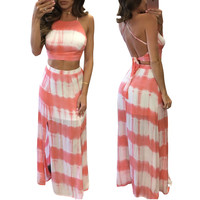 Pink Cutout Strappy Back Crop Top Two Pieces Dress