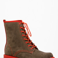 Taupe Faux Suede Lace Up Combat Boots