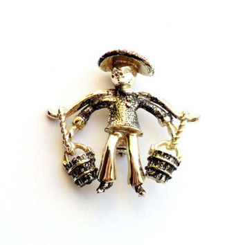 Vintage Asian Man Brooch Water Carrier Oriental Orient Black Silver Painted Pin Broach Figural