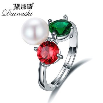 Dainashi High Quality 925 sterling silver rings for women adjustable colorful jewelry silver women 8-9 mm natural pearl rings