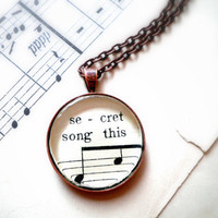 secret Sheet music necklace Pendant necklace with real by GildedNotes