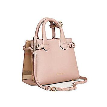 Tote Bag Handbag Authentic Burberry The Baby Banner In Leather And House Check Ink Tan Item 40140791 #46771 - Best Deal Online