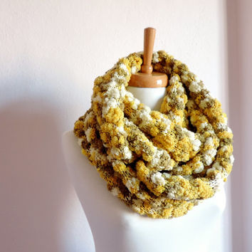 Yellow Green Cream Long Scarf , Knitted Scarf , Women Circle Scarves , Women's Fashion Accessories