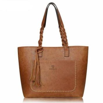 Faux Leather Tassel Trapeze Tote Bag