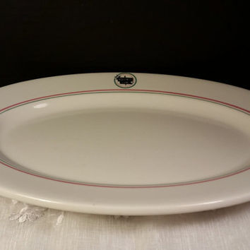 Disney MGM Studios HOLLYWOOD & VINE Restaurant 3 Large Oval Dinner Serving Plate Buffalo China Oval Ironstone Plate Cafe Diner Dish