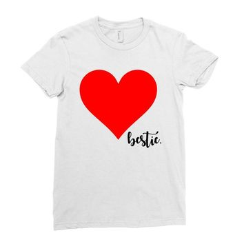 Besties Heart Family Matching Ladies Fitted T-Shirt