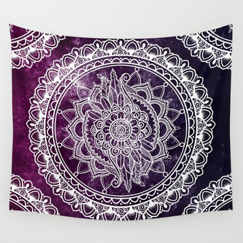 Violet Flower Mandala Wall Tapestry by Angoes25