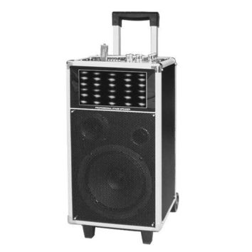 Portable PA Speaker System with Flashing DJ Lights, Built-in Rechargeable Battery, MP3/USB/SD Readers, FM Radio, 400 Watt