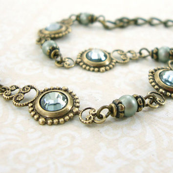 Sage Green Swarovski Crystal Bracelet - Victorian Style Jewelry - Light Powder Green Antique Style Renaissance Jewelry Sage Crystal Bracelet