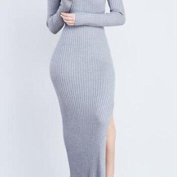 Grey Plain Irregular Side Slit Long Sleeve Casual Knit Sweater Maxi Dress