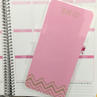 FREE SHIPPING To Do List Pink Chevron Laminated Dashboard Insert for Erin Condren Life Planner/Plum Paper Planner - clips right into coils!