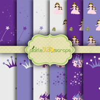 Pretty Princess Purple - 12 Digital Scrapbook Papers - 12x12inch - Printable Backgrounds -  INSTANT DOWNLOAD
