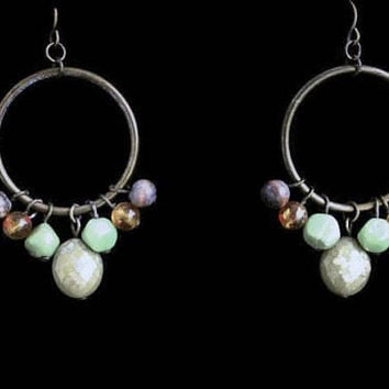 1970's Boho Beaded Hoop Earrings, In Brass with Yellow, Green and Wood Beads