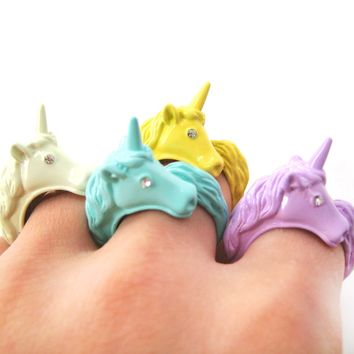 Large Detailed Unicorn Animal Wrap Around Ring in Purple - Size 5 to 8
