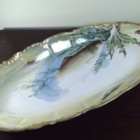 Limoges Fish Platter Victorian Elite Works Large  Hand Painted Antique Plate