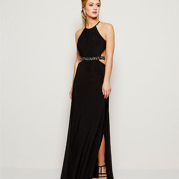 Morgan & Co. Halter Neck Beaded Waist Gown | Dillards