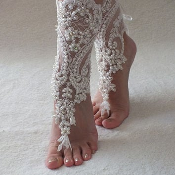 ivory Barefoot , french lace sandals, lace barefoot sandals wedding anklet, Beach wedding barefoot sandals, embroidered sandals.