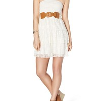 Tiered Lace Belted Dress