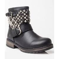 NEW Breckelle Rocker-24 Studded Round Toe Stacked Heel Ankle Motorcycle Boots BLACK
