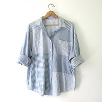 20% OFF SALE / 80s oversized shirt. blue striped button up shirt. long sleeve pocket shirt.