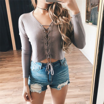 Long sleeves V-neck Solid Color Hollow Crisscross Strappy Short T-shirt Sweater