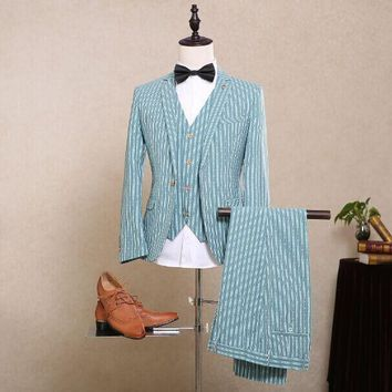 Men's Striped Customer Colored 3 Pc Suit Up To 5XL(Jacket+Pants+Vest)