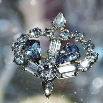 1950s 50s Mid Century Brooch Rhinestone Brooch Sapphire Aquamarine Blue Brooch Glass Faceted Candle Candelabra Something Blue Wedding Party