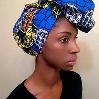 Blue Yellow African headwrap - Ankara turban - pink african Head wrap - African print turban - Wax print headwrap - tribal turban