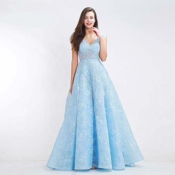 Light Blue Prom Dresses for women Fantasy V-neck Sleeveless Formal Lace Backless A-line Party Evening Dress