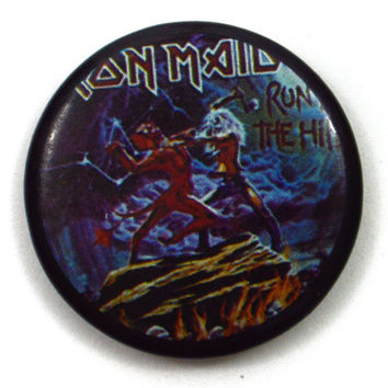 Vintage 80s Iron Maiden Run To The Hills Badge Pinback Button Pin