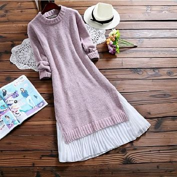 2017 Spring Autumn Women Midi Dress Round Neck Knitted Chiffon Patchwork Sweater Dress Casual Elegant Long Sleeve Split Dresses