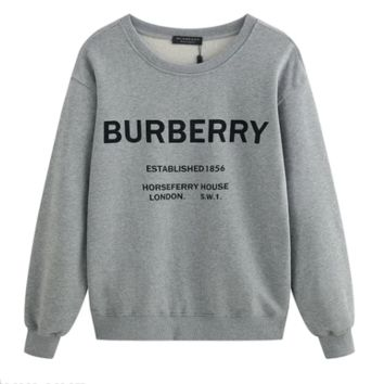 Burberry monogram printed long-sleeved hoodies are hot sellers with matching crew necks Gray