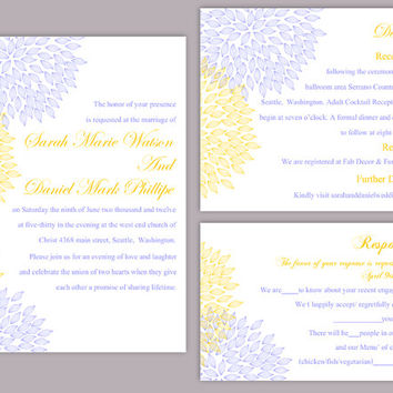 DIY Wedding Invitation Template Set Editable Word File Download Printable Floral Invitation Yellow Wedding Invitation Blue Invitations