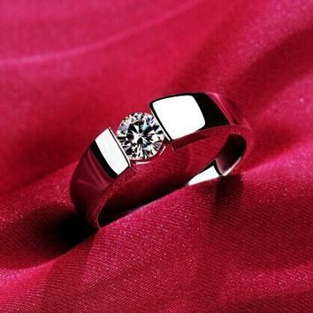 18K Real Gold / White Gold Plated Channel Setting Hearts and Arrows 4.5mm CZ Diamond Wedding Ring R400 R406