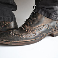 Handmade Curried leather  Lace-Up Mens Brogues   - MADE TO ORDER -