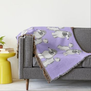 White Standard Poodles Lavender Throw Blanket
