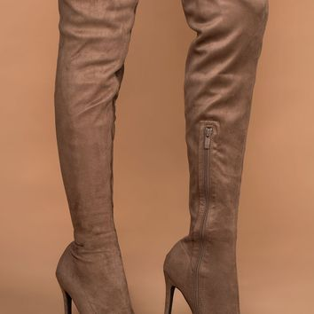 Jackie Taupe Suede Over the Knee Boots