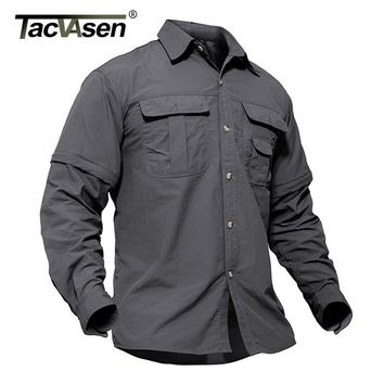 TACVASEN Men's Army Military Shirt Men Removable Quick Dry Tactical Shirt Autumn Summer Long Sleeve Shirts Plus Size TD-SMMD-001
