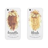 Floral Blonde Brunette Cute BFF Matching Phone Cases For Best Friends