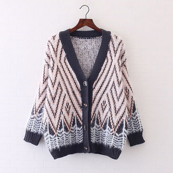 geometric patterns Of mohair loose hit color v-neck bat sleeve Knitted sweaters Zcardigan mori girl 2016 autumn New