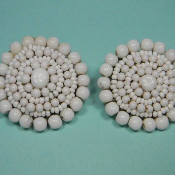 Miriam Haskell Clip On Earrings, White Beads