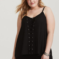 Sophie - Black Lace-Up Georgette Swing Cami